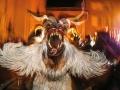 Salzburger Christkindlmarkt 2012 am Domplatz Foto: Franz Neumayr    5.12.2012 Nikolaus und Krampuslauf Brauchtum, Weihnachtszeit, Advent, Weihnachtsmarkt, Krampus, Masken, Hörner, Fellkostüm, grimmig, furchterregend