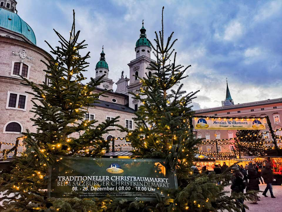 Traditioneller Christbaummarkt am Residenzplatz beim Salzburger Christkindlmarkt